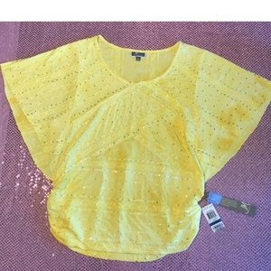 NWT JM Collection Yellow Sequin Shirt